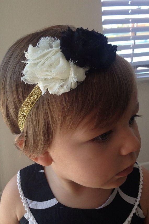 Ivory and black shabby headband, gold glitter, shabby chic, baby girl https://www.etsy.com/listing/196483792/ivory-and-black-shabby-headband-gold?ref=shop_home_active_1