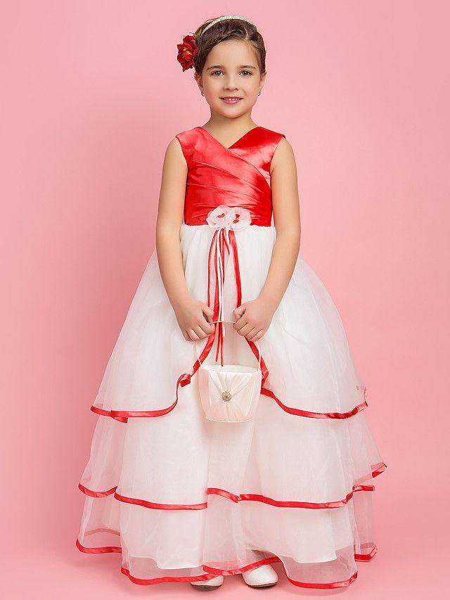 lanting bruid ® a-lijn / baljurk / prinses vloer lengte bloem meisje jurk - organza / stretch satijn mouwloze - EUR €48.99