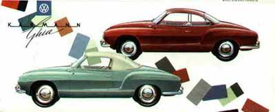 "A 1958/59 VW Karmann Ghia Color poster chart, ""VW Karmann Ghia color chart"", 3.5 x 8.25 inches (opens up to 16.5 x 28 inches) It includes all exterior and interior color combinations. Pub #: W 2/49A"