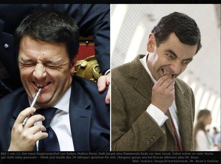 Matteo Renzi, alias Mr Bean. L'ironia arriva dalla stampa tedesca. Il quotidiano berlinese Die Tageszeitung prende di mira la mimica del nuovo premier pubblicando questo fotoconfronto: una selezione di 11 immagini in cui le espressioni di Matteo Renzi, nel giorno della fiducia al Senato, vengono par