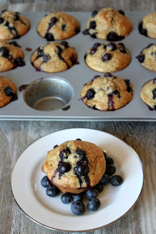 Healthy Banana Blueberry Muffins. I only had half the blueberries, so ...
