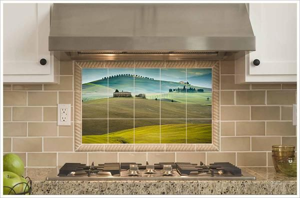 Tuscan Valley Italy Tile Mural With Images Mediterranean