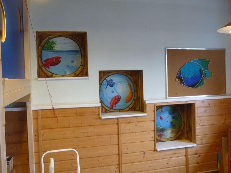 Carola Sommer❤Malerei Wände Kinderzimmer Fische Unter Wasser Mural Bullauge  Kindergarten