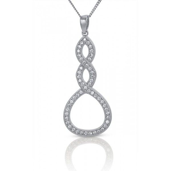 Double Infinity Loop Silver Pendant -  Two Lives Becoming One For All Eternity - Cubic Zirconia - 5 Year Guarantee