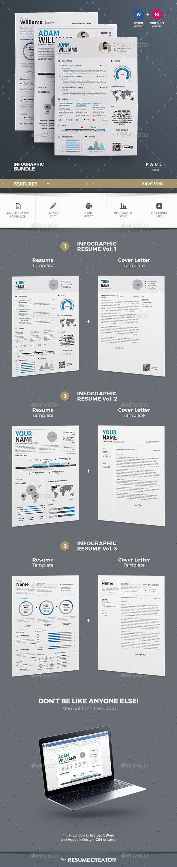 Resume in Infographic style, and very easy to edit. include Resume and Cover letter. Freen awesome font used. So easy to edit in MS word.