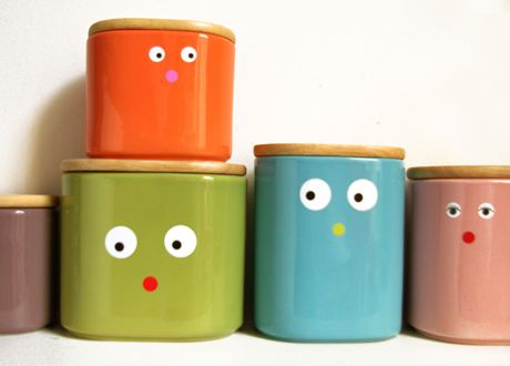 Canisters With Little Sweet Faces - DIY Inspiration