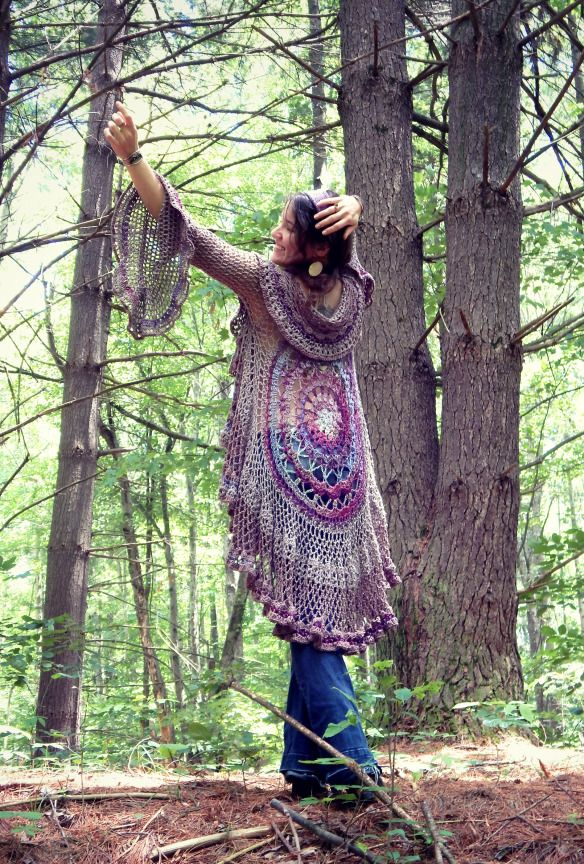 """Stevie"" Mandala Vest, a free crochet pattern for a circle vest duster."