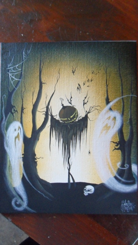 Original Halloween Scarecrow Painting Ghost by MyEclecticMind1, $100.00