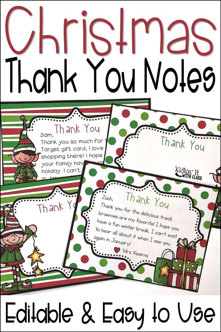 christmas thank you notes  editable