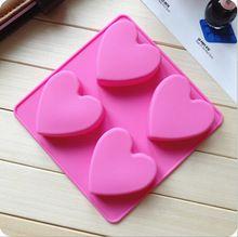 Sabonete Artesanal Molde 4 reticulados quente Do Amor Do Coração Forma Silicone…