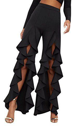 3c9d79c0e0d0af Speedle Women Sexy High Waist Ruffled Trim Split Wide Leg Flared Bell Bottom  Long Dancing Party Pants #pants