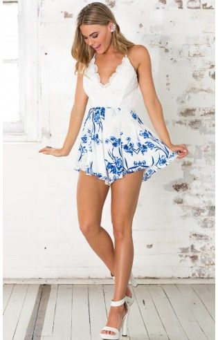 Innocent Days playsuit in blue floral