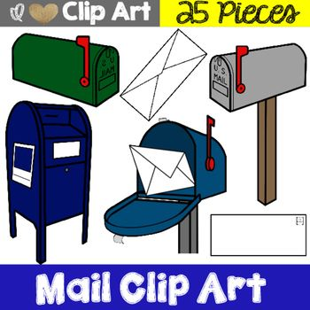 Mail Themed Clip Art My Mail Clip Art would be perfect for your TPT product or your classroom decor. This Mail Clip Art product includes 25 colorful mail themed clip art  (including blackline masters). The following pieces are included in this product:- Mailbox (white, grey, green, blue, and blackline master)- Mailbox with stand (white, grey, green, blue, and blackline master)- Mailbox open with mail inside (white, grey, green, blue, and blackline master)- Post Office Mailbox (white, grey…