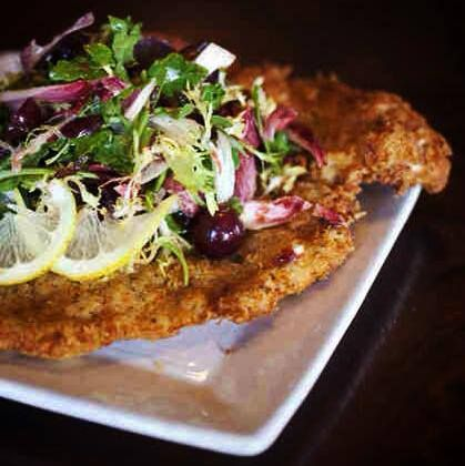 Schnitzel Salad at The Back Abbey: Breaded pork loin, fried in duck ...