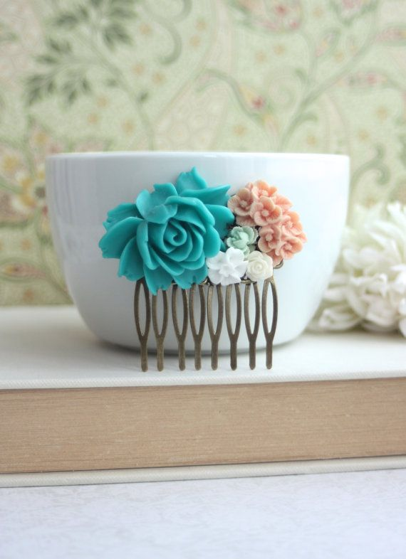 Large Turquoise Rose Peach Bouquet Filigree Flower Collage Hair Comb, Maid Of Honor, Bridesmaids Gift, Turquoise Blue Wedding.