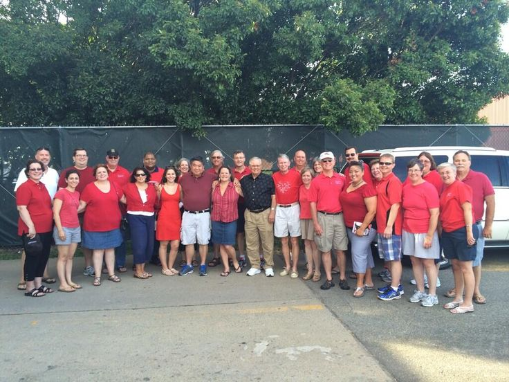 Conductor Erin Freeman and  Richmond Symphony Virginia Chorus at Richmond Squirrels game June 28, 2014 ready to sing the National Anthem.