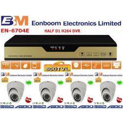 Ολοκληρωμένο συστήμα CCTV με 4 κάμερες Dome με πλαστικό κέλυφος νυχτερινής λήψης 800TVLINES 6604264 EONBOOM