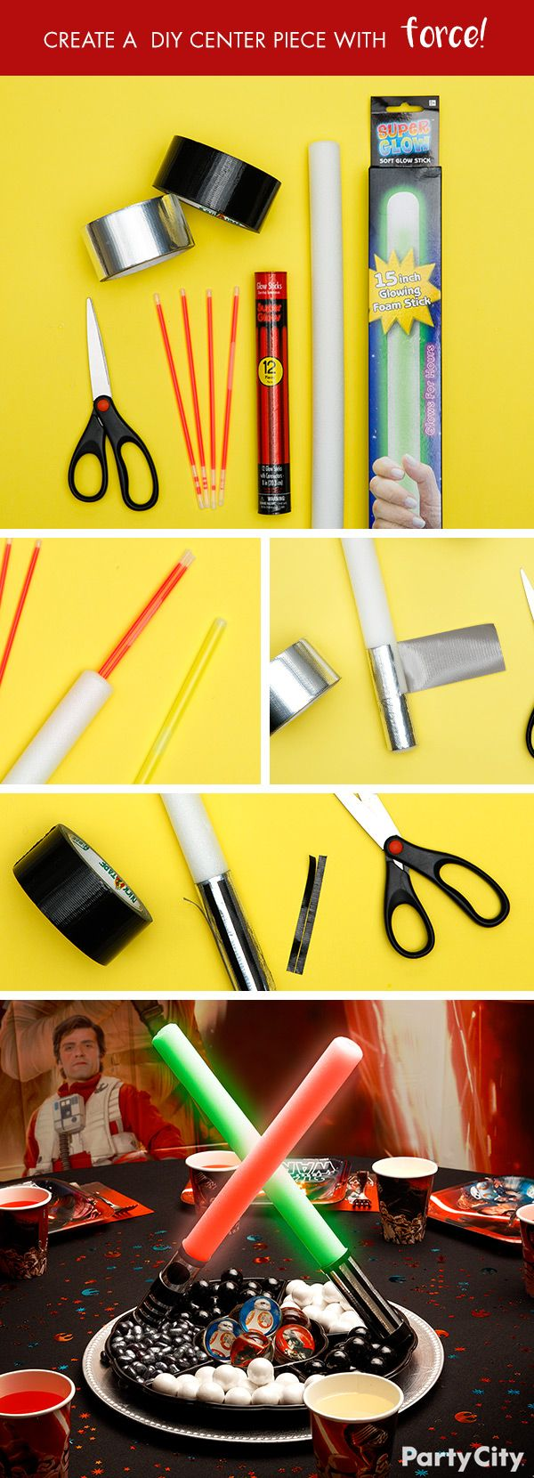 Jedi or Sith, you can create a centerpiece with force for any Star Wars Party! First, place glow sticks inside LED foam light sticks. Create the light saber handles with black and silver duct tape. Make them cross each other as though engaged in battle and attach to serving tray. Finally fill the tray with galactic candy of your choice! This IS the DIY you're looking for!