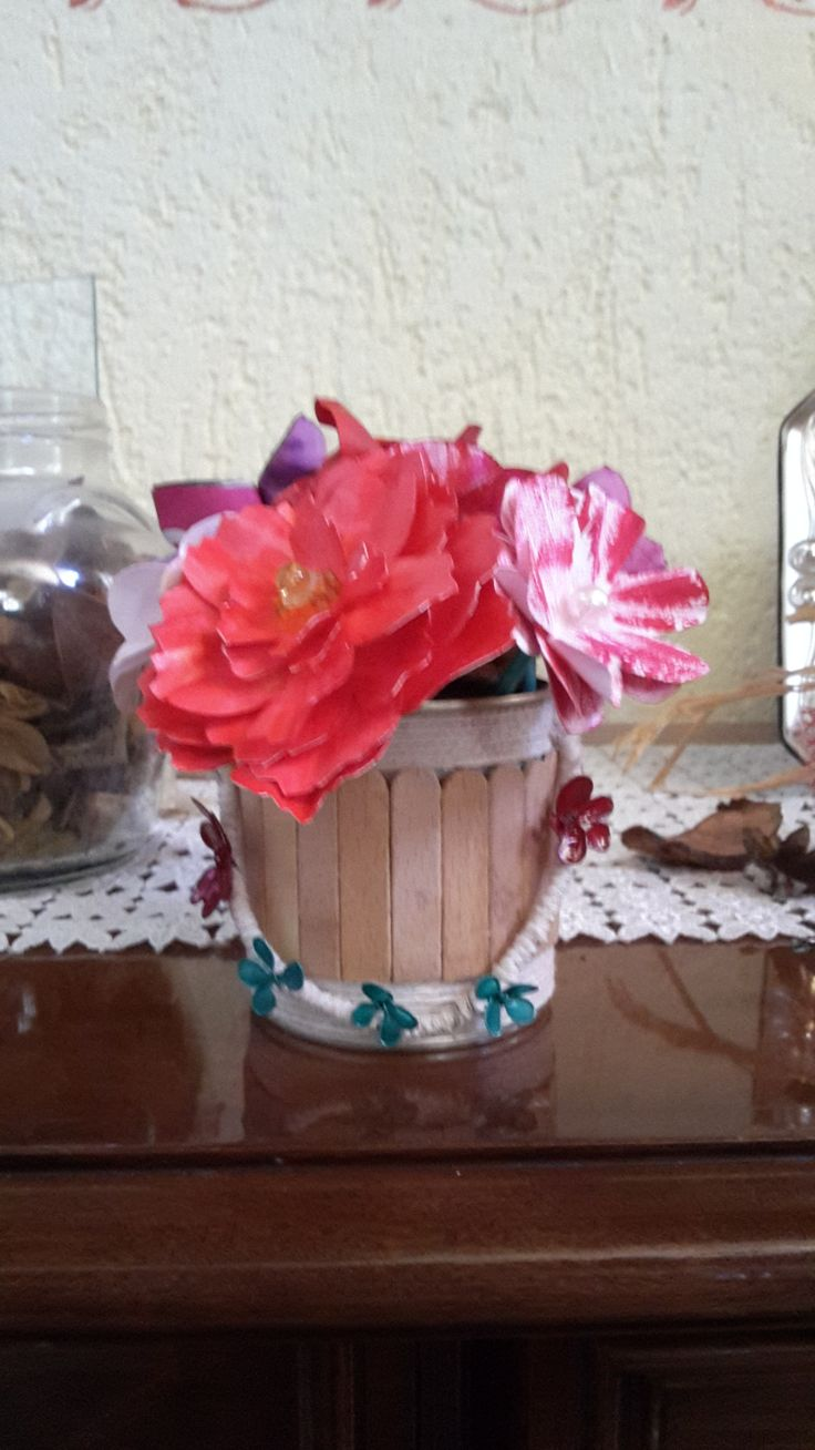 #diy paper flower and tin can!!!