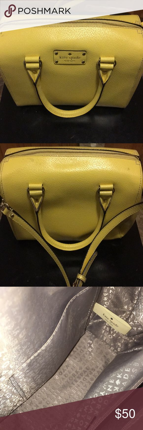 Kate Spade Purse Beautiful yellow purse. Hard leather. Approximately 10 x 10 x 4 with an adjustable strap. Purchased at an outlet mall. kate spade Bags Crossbody Bags