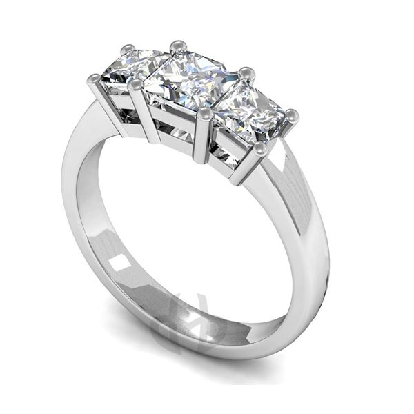 Platinum Diamond Engagement Ring Princess Trilogy D Shape Band