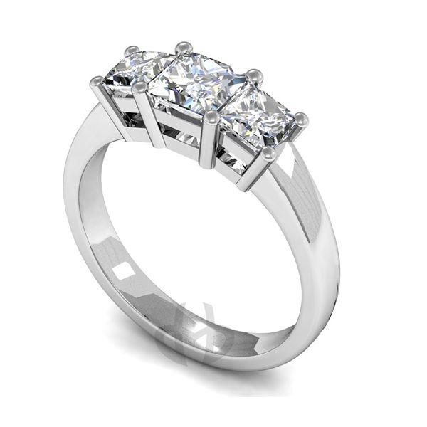 Platinum Diamond Engagement Ring Princess Trilogy D Shape Band
