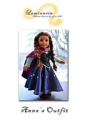 "Pattern Anna's Dress Outfit in Disney's Frozen for 18"" American Girl Lumi 