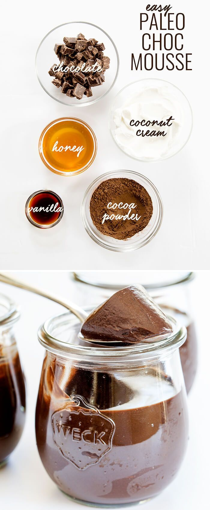 Smooth and creamy Paleo chocolate mousse, made with chocolate, coconut cream, cocoa powder, honey and vanilla. Just blend it and let it set! http://glutenfreeonashoestring.com/paleo-chocolate-mousse/