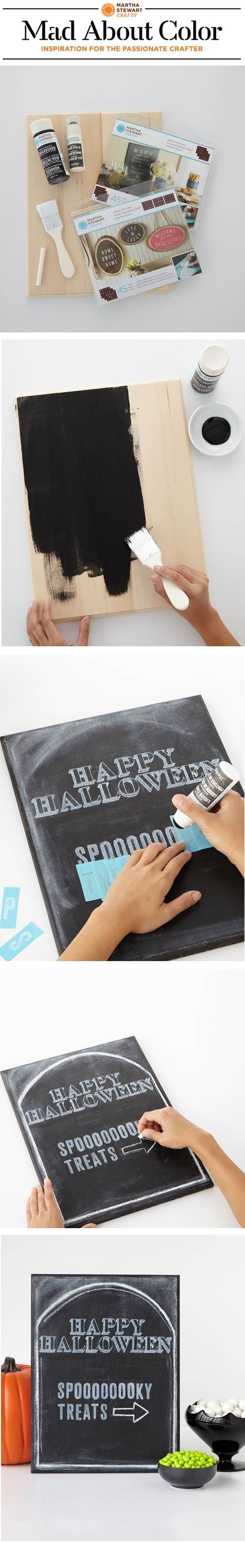 Use Erasable Liquid Chalk and stencils from #marthastewartcrafts to create unique Halloween Decor