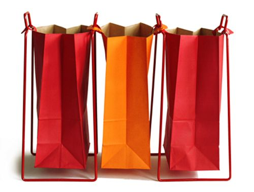 Helsinki paper bag holders. Design by Helena Mattila. Made in Finland.  With two holders and three bags, one gets a recycling unit, for instance for bottles, papers and cardboards.