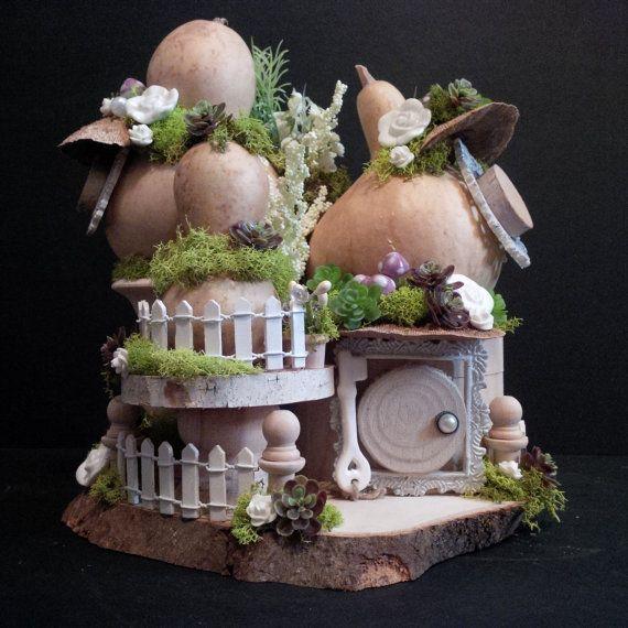 OOAK Fairy House: Gourd Grove by BirchTreeFairyHouses on Etsy