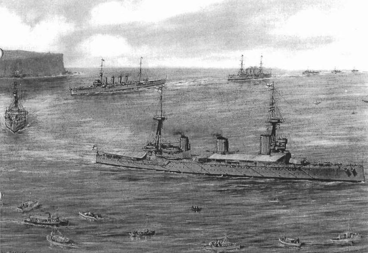 A historic drawing of the first fleet entry into Sydney.