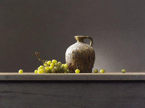 "Bernard Verkaaik ""Kruikje met Groende Druiven"" 2012. Oil paint on panel. 60x80 cm"