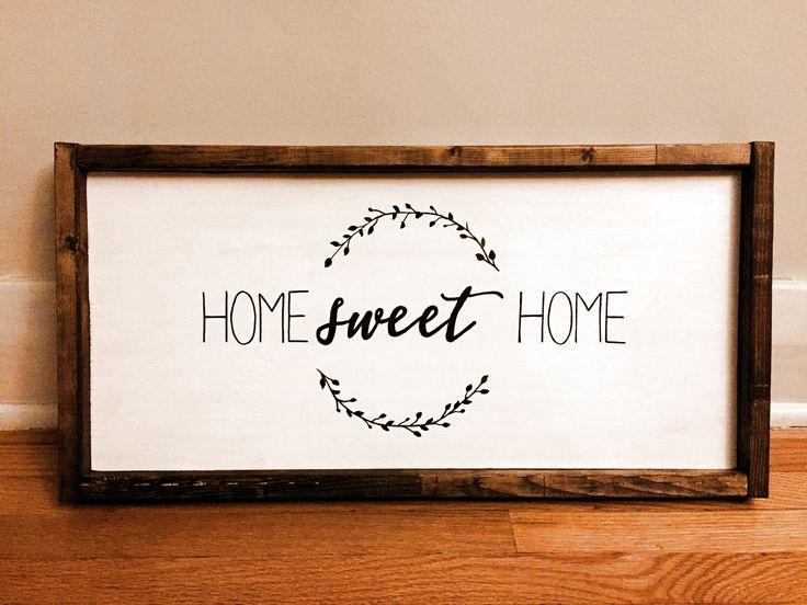 """Home Sweet Home"" sign custom made by White Wood Design Studio"