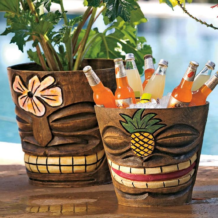 They may look like they were handcarved on some breezy tropical island, but are actually made of durable weather-resistant handpainted polyresin that won't break or crack. They come in small and large sizes, feature a hole in the bottom for drainage and can not only be used as flower pot, but as a unique ice bucket for your next Luau party.