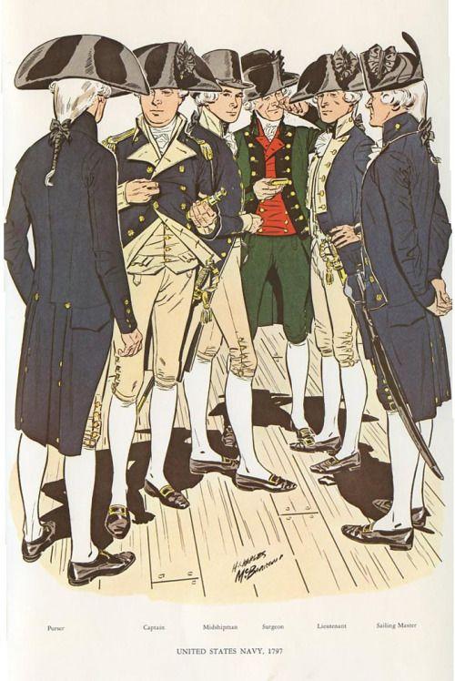 "sixfrigates: ""Prints of U.S. Navy uniforms, 1776-1967- Part I Part II Source "" 멋있다"