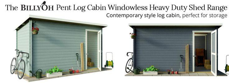 BillyOh Pent Log Cabin Windowless Heavy Duty Shed Range - Log Cabin Sheds - Garden Buildings Direct