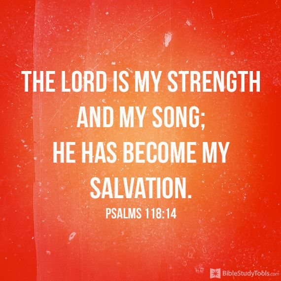 PSALM  118:14 The LORD is my strength and song, and is become my salvation.