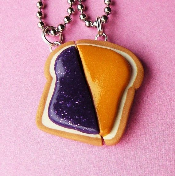 "PB and Jelly Best Friend Necklace. Gonna need these. Wasn't ""peanut"" ""butter"" and ""jelly"" our nicknames with someone at one point?"
