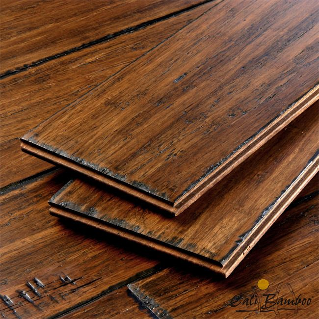 Antique Java Wide Plank Fossilized Strand™ Bamboo Flooring - back up to hard wood floors