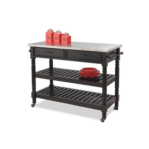 Savannah Black Cart Home Styles Furniture Serving & Utility Carts Kitchen Islands & Carts