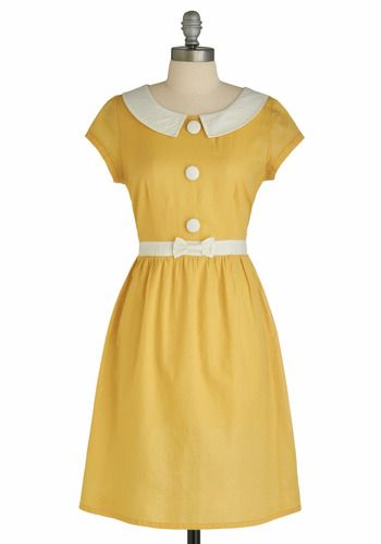 Yellow dress from #Modcloth #Yellow: Button, Simple, Collar, Vintage Dress, Mod Cloth Dress, Modcloth Dress