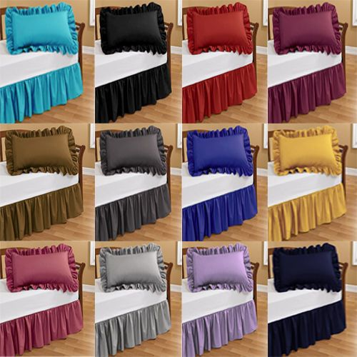 1000 TC 100% EGYPTIAN COTTON RUFFLE BED SKIRT TWIN SOLID CHOOSE COLOR AND DROP | Home & Garden, Bedding, Bed Skirts | eBay!