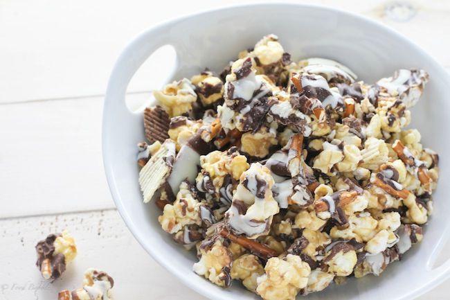 Potato Chip Pretzel Caramel Corn - FoodBabbles.com #popcorn