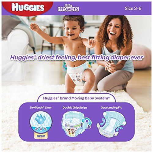 Huggies Little Movers Diapers, Size 6, 104 Count (Packaging May Vary)  HUGGIES Little Movers Size 6 Diapers feature our New Moving Baby System. Shaped for outstanding fit, Little Movers Diapers include a DryTouch Liner that absorbs on contact and Double Grip Strips for a comfy fit that lasts. Also, with a SnugFit waistband and Leak Lock for up to 12 hours of leakage protection, Little Movers gives your moving baby the driest feeling, best fitting diaper ever. Even the most energetic ..
