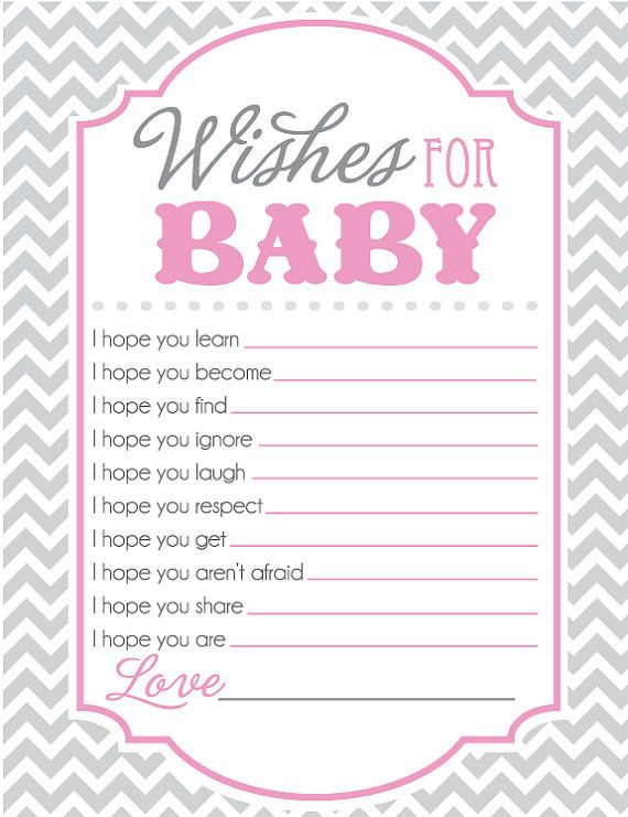 Baby Shower Game Sheet for Wishes for Baby.  Pink and Gray Chevron! Classy and Cute! #babyshower #showergames