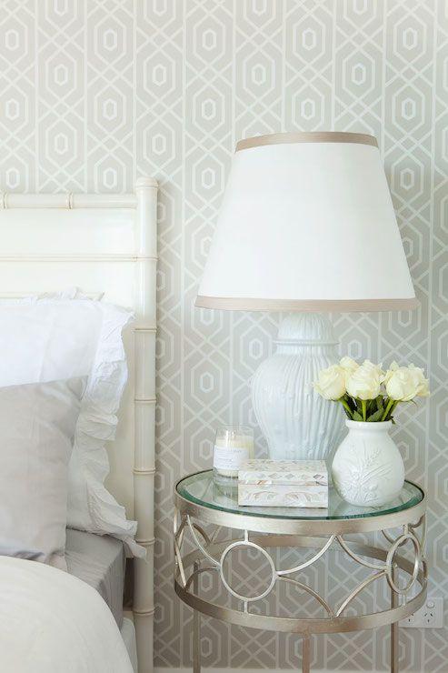 Chic gray, white  ivory bedroom palette