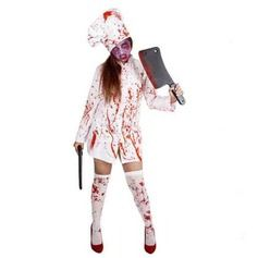 Horror Female Chef Halloween Costumes
