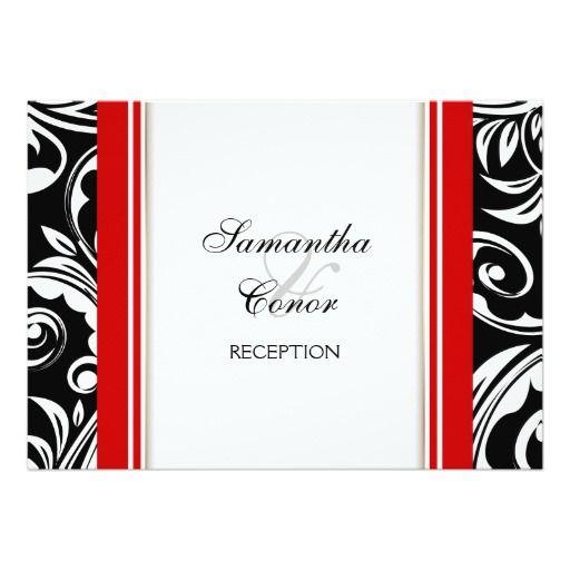 Red Black White Wedding Engagement 5x7 Paper Invitation Card