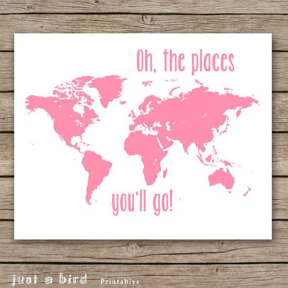Baby Girl Nursery Decor Pink Map Art Oh The Places You